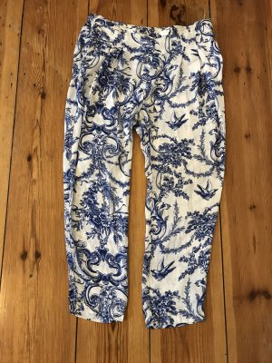 Zara Hose in L weiß blau Muster
