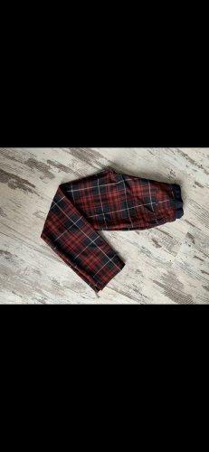 Zara Basic Pantalón de pinza alto rojo oscuro-negro