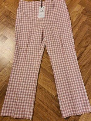 Zara Lniane spodnie Wielokolorowy