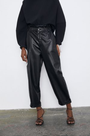 Zara Leather Trousers black polyurethane