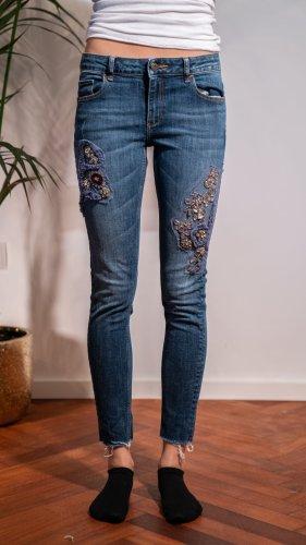 Zara Basic Stretch Trousers dark blue