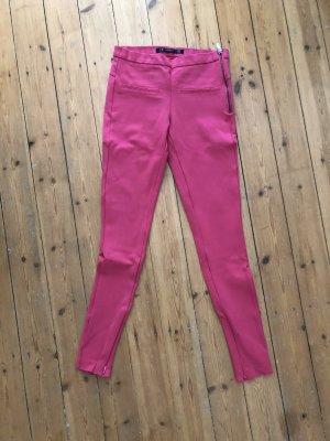 Zara Hose pink neon magenta stretch Leggings Skinny Röhre Rosa