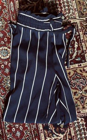 Zara Pantalón de pinza alto blanco-azul oscuro