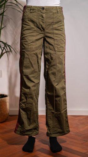 Zara Woman Pantalón de cintura alta verde oscuro-rojo oscuro