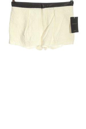 Zara Hot Pants wollweiß-schwarz Casual-Look