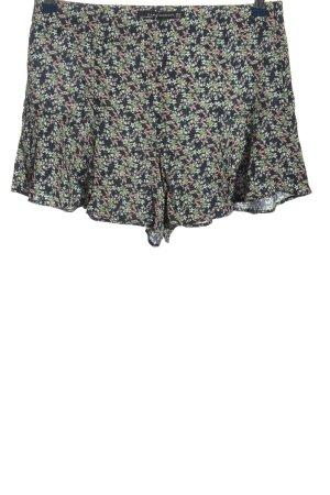 Zara Hot Pants blau-weiß Allover-Druck Casual-Look