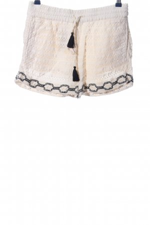 Zara Hot Pants creme-schwarz Casual-Look