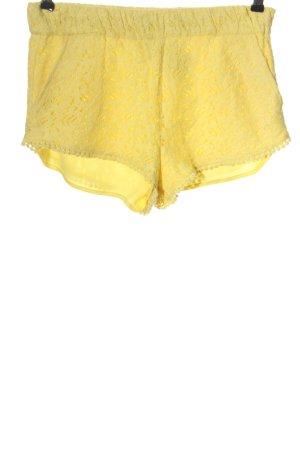 Zara Hot Pants blassgelb Webmuster Casual-Look