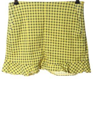 Zara Hot Pants blassgelb-schwarz Karomuster Casual-Look