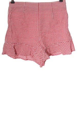 Zara Hot Pants weiß-rot Karomuster Casual-Look