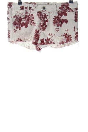 Zara Hot Pants weiß-rot Allover-Druck Casual-Look