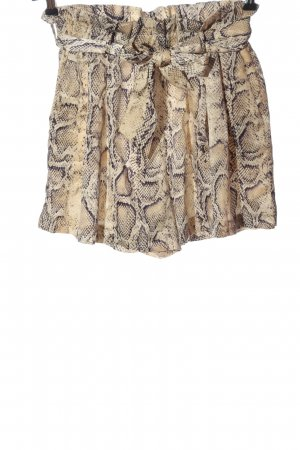 Zara Hot Pants creme-braun Allover-Druck Casual-Look
