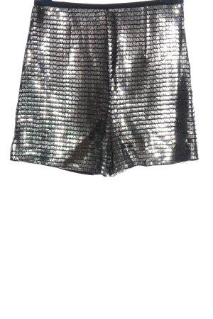 Zara Hot Pants silberfarben-schwarz grafisches Muster extravaganter Stil