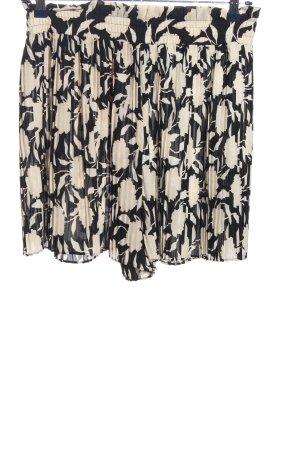 Zara Hot Pants schwarz-creme Blumenmuster Casual-Look