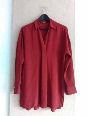 Zara hübsche Bluse in burgunderrot aus 100% Seide, Grösse M oversize