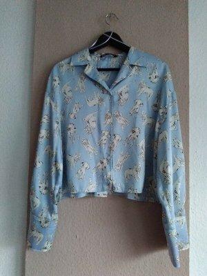 Zara hübsche Hemdbluse mit Hunde-Muster, Größe L,neu
