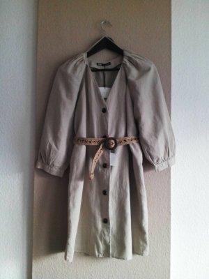 Zara hübsche Minikleid in beige aus Baumwolle und Leinen, Grösse S, neu