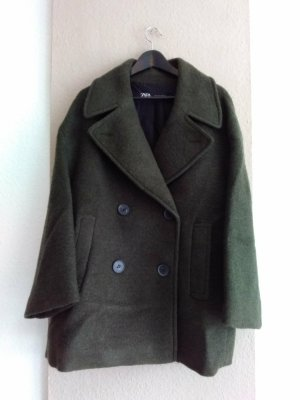 Zara hübscher Kurzmantel aus 48% Wolle in khaki, Grösse L, neu