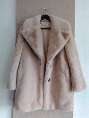 Zara hübscher Mantel aus künstlichem Fell in altrosa, kein Farbverlauf, Grösse S oversize