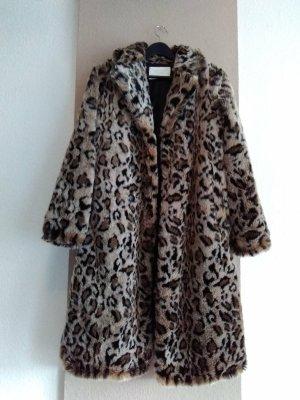 Zara hübscher Mantel aus künstlichem Fell in Leomuster, kein Farbverlauf, Grösse S oversize
