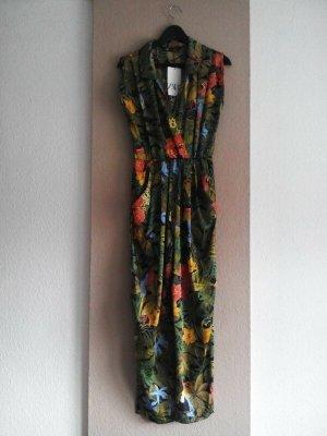Zara hübscher Maxi Jumpsuit mit tropischem Muster, Grösse S, neu