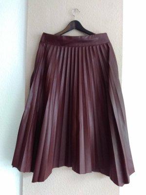 Zara Spódnica z imitacji skóry brązowo-czerwony Poliester