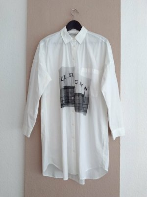 Zara Robe chemise noir-blanc coton