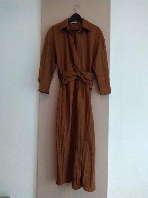 Zara hübsches Hemdblusenkleid in braun aus 90% Lyocell, Grösse S, neu