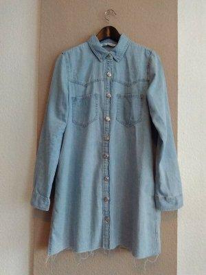 Zara hübsches Jeans.Hemdblusenkleid aus Baumwolle, Grösse M