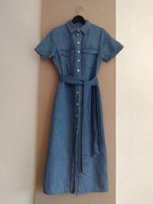 Zara hübsches Midi-Hemdblusenkleid mit Gürtel aus 100% Baumwolle, Große S, neu
