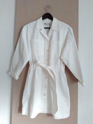 Zara hübsches Mini-Hemdblusenkleid mit Gürtel aus 100% Baumwolle, Große M, neu