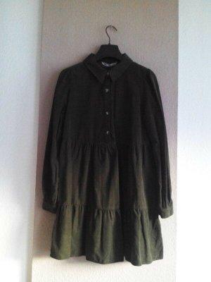 Zara hübsches Minikleid in khaki aus 100% Bauwolle, Kordoptik, Grösse L, neu