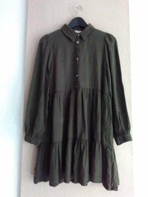 Zara hübsches Minikleid in khaki aus Lyocell und Baumwolle, Grösse S, neu