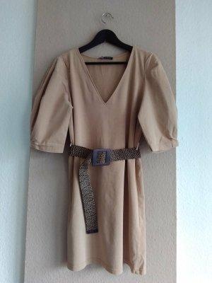 Zara hübsches Minikleid mit Gürtel in beige aus 100% Baumwolle, Grösse M
