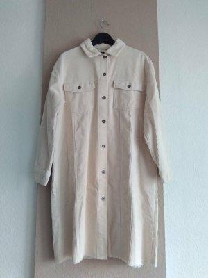 Zara hübsches Überhemd/Long-Jacke aus 100% Baumwolle in creme, Kordoptik, Grösse M