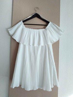 Zara hübshes Minikleid mit Volant in weiss, Grösse L, neu
