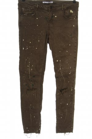 Zara Jeansy biodrówki brązowy-kremowy Abstrakcyjny wzór W stylu casual