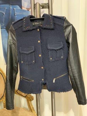 Zara Trafaluc Veste en cuir synthétique noir-bleu foncé