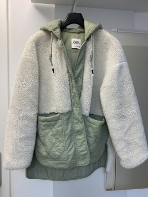 Zara Fake Fur Jacket natural white-sage green