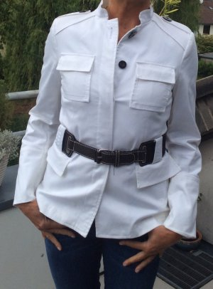 Zara Basic Giacca militare bianco-marrone scuro