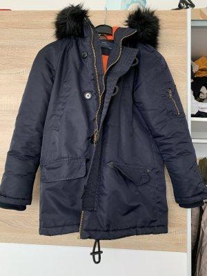Zara Kurtka z kapturem ciemnoniebieski-pomarańczowy neonowy