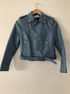 Zara Veste en cuir synthétique bleu acier