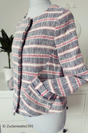 Zara Jacke Boucle Blazer gestreift Gr. 34/XS tweed
