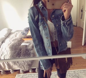 Zara Jacke Denim jeans destroyed Löcher Blogger top