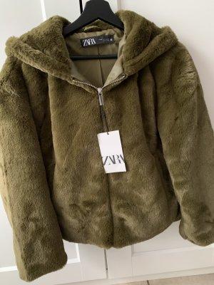 Zara Fleece Jackets khaki