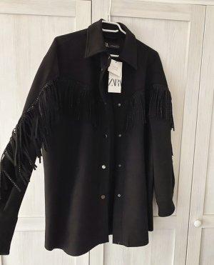 Zara Jacke Hemd Hemdjacke Fransen Oversized