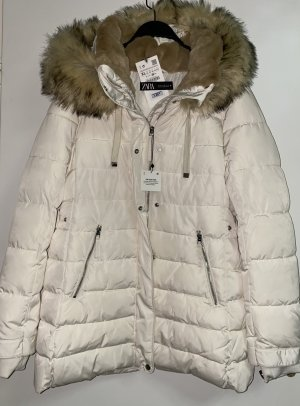 Zara Quilted Coat natural white-grey brown