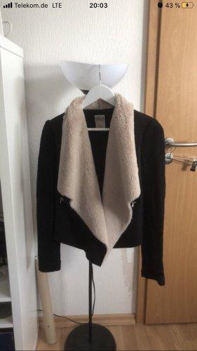 Zara Giacca di pelliccia nero-crema