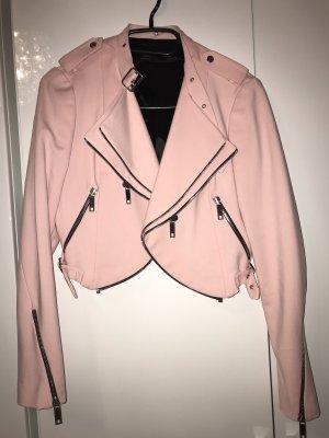 Zara Chaqueta de motociclista rosa claro