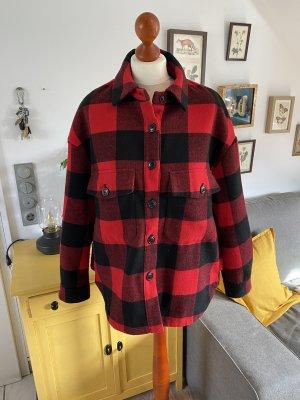 Zara Jacke rot schwarz Karo Hemdjacke S
